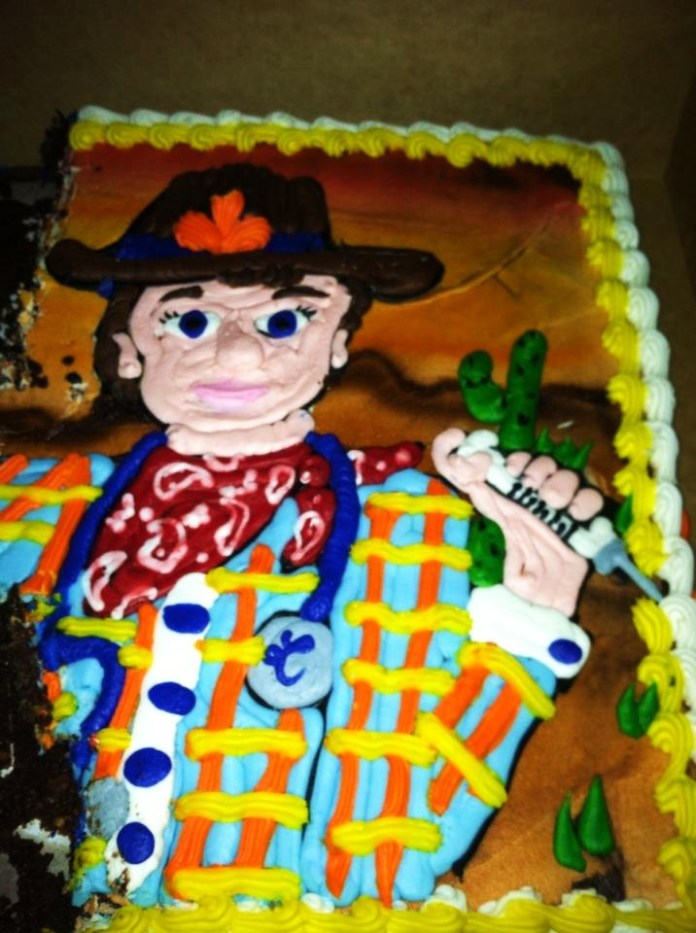 Dr. Matt's birthday cake at the Troubadour Lounge and Park. Photo by Terri Holtz