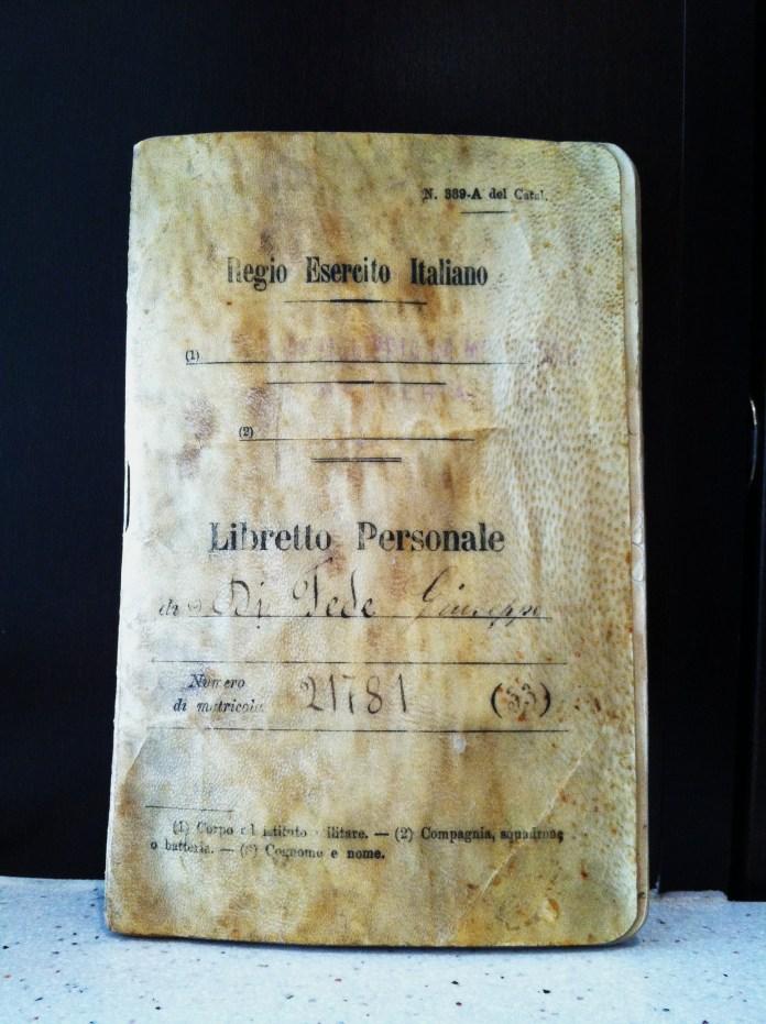 Giuseppe DiFede's Libretto Personale. Photo by Joseph P. McRedmond