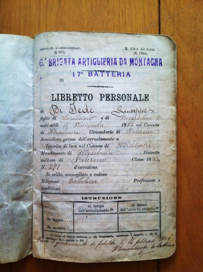 Giuseppe DiFede Libretto Personale Page 1. Photo by Joseph P. McRedmond