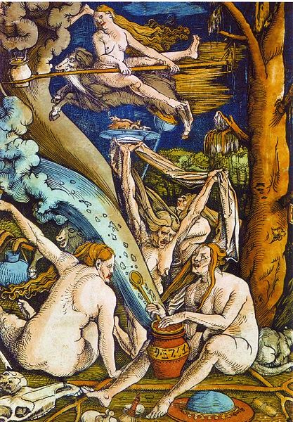 Witches by Hans Baldung Grien (Woodcut, 1508)