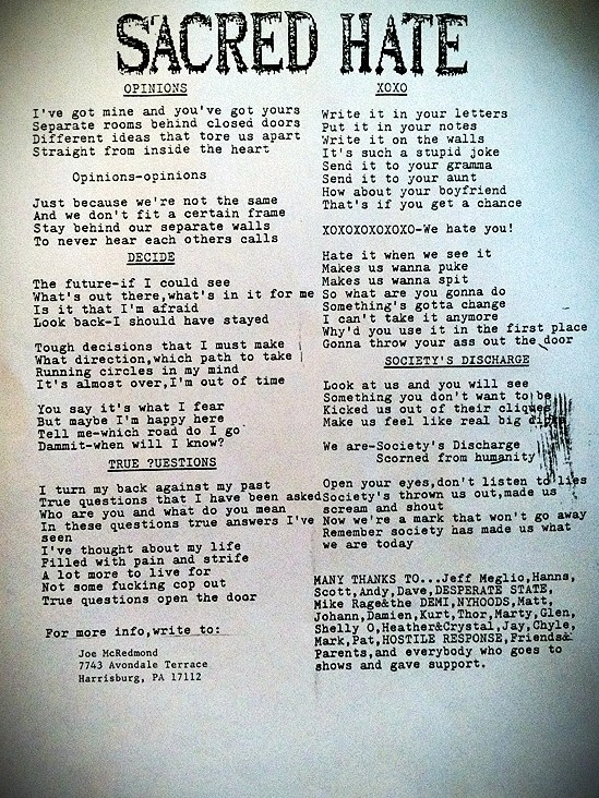"Sacred Hate ""Experience the Insanity"" Demo 1987 Lyric Sheet."