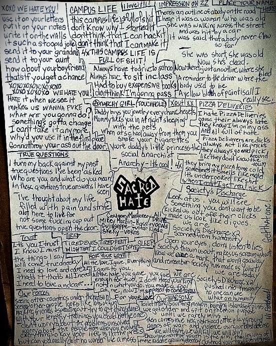 Even the Boombox Tape had a lyric sheet, albeit handwritten.