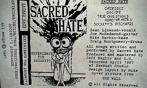 Sacred Hate Demo Tape Cover 1987. Designed by Mike Harbin.