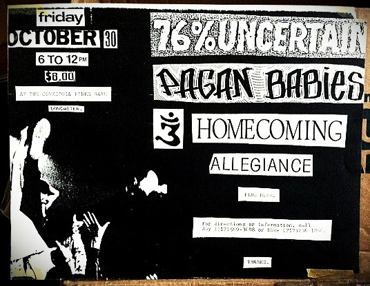 Homecoming opening up for 76% Uncertain and the Pagan Babies, October 30th, 1987.